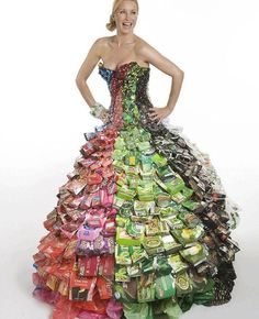 Ethical fashion designer Gary Hemingway created this dress out of throw away packaging.