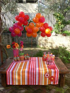 flower party. What a tidy presentation of colour burst! Look at the little lollipop flower pots. Too much candy for a 2 yr old, but I like the colourful impact here.