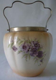 Victorian Crown Devon Blush Ware Biscuit Barrel