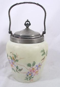 Mouse over image to zoom                                                     Have one to sell? Sell it yourself         LOVELY MT. WASHINGTON GLASS SILVER BISCUIT BARREL FLORAL DESIGN