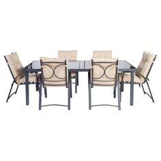 Del Terra 7 Piece Aluminium Dining Set Grey/Beige