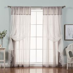 Best Home Fashion Faux Pippin Linen Sheer Curtain Panels - RDP_PIPPIN_TULLE_LAYER-84-WHITE