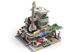 The Carwash and record store! Industrial Vacuum Cleaners, Lego Club, Amazing Lego Creations, Lego Modular, Lego Architecture, Lego House, Lego Moc, Cool Lego, Lego Building