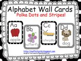 Alphabet Cards Black and White Polka Dots and Stripes product from TheMoffattGirls on TeachersNotebook.com