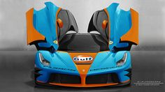 This isnt a real Ferrari LaFerrari painted up in Gulf livery. It is a RENDERED Ferrari LaFerrari photoshopped in the most iconic racing livery known to man: youre talking Ford GT40s, Porsche 917s, Aston Le Mans racers and Steve McQueen.