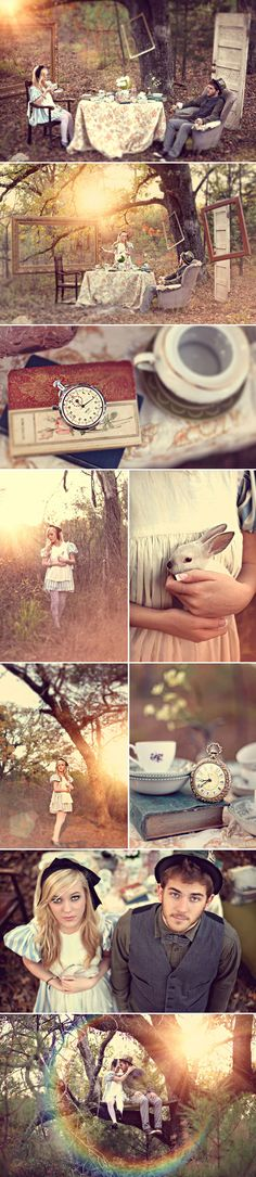 Fairytale Inspired Engagement Photos - Alice in Wonderland