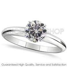 14k White Gold 4 Prong 0.25 ctw I - J Color VS - SI Clarity Certified Solitaire Diamond Engagement Ring