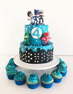 PJ Masks Birthday Cake Pj Masks Birthday Cake, Brithday Cake, Paw Patrol Birthday Cake, Costume Birthday Parties, 4th Birthday Cakes, Paw Patrol Cake, Pj Mask Cupcakes, Cupcake Cakes, Celebrate Good Times