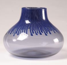Venini De Santillana Blue Murano Art Glass Vase