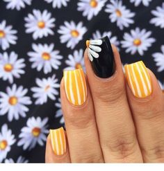 Spring Nails 34 Popular Spring Nail Art Design Ideas 2019 Trend Nail Art and Tattoo . 34 Popular Spring Nail Art Design Ideas 2019 Trend Nail Art and Tattoo Yellow Nail Art, White Nail Art, White Nails, Yellow Nails Design, Striped Nails, Yellow Toe Nails, Acrylic Nails Yellow, Black Manicure, Nail Art Stripes