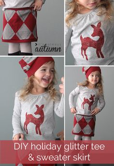 the perfect #DIY #holiday #outfit - add a cute glittery deer to a tee using #fabric #glitter and make an adorable skirt and hat combo from a thrifted sweater - both projects are super easy! #tulipholidaysparkle