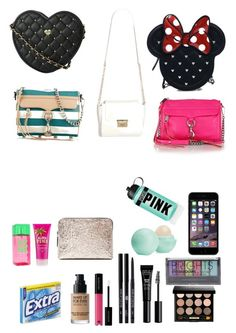 """""""Bags and what I keep In them"""" by haaiilleeyy13 ❤ liked on Polyvore featuring Rebecca Minkoff, Loungefly, 3.1 Phillip Lim, Eos, Boohoo, Bobbi Brown Cosmetics, Victoria's Secret and Victoria's Secret PINK"""