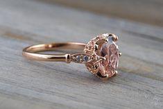 14k Rose Gold 10x8mm Oval Morganite Round Cut Diamonds Art Deco Vintage Design Ring