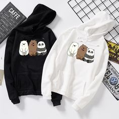 langarm bare bears bedruckter hoodie fur herbst und winter - The world's most private search engine Hoodie Outfit, Hoodie Sweatshirts, Grunge Outfits, Fashion Outfits, Tomboy Outfits, Emo Outfits, Punk Fashion, Lolita Fashion, Stylish Hoodies