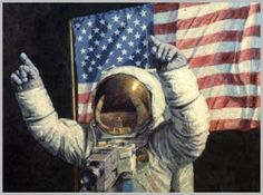 The great American painter Norman Rockwell immortalised Neil Armstrong's first footfall on the Moon...