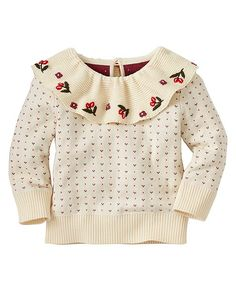 Supercrafted sweater in pure cotton features lots of extra special details, like the pretty flounced collar with hand embroidery and petite heart allover jacquard. A sweet keeper all through celebration season