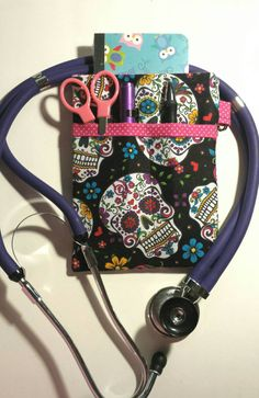 Scrub Pocket Organizer, Lab Coat! Purse organizer. Nurse, Clinicals, RN, CNA, LPN, Vet Tech. Sugar Skulls, Day of the Dead! by AmethystAlleyFantasy on Etsy