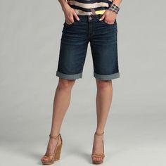 Calvin Klein - Shorts bermuda para mujer, de jeans, dobladillo enrollado