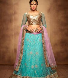 Buy Firozy and baby pink net embroidered unstitched lehenga choli lehenga-choli online