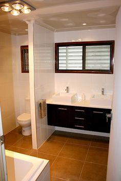 Brown And White Bathroom Wall Hung Vanity Units - Brisbane