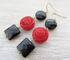 Black onyx earrings, cinnabar earrings, dangle earrings, red and black jewelry, uk gemstone jewellery, oriental style jewels, gift for her by Sofiasbijoux on Etsy