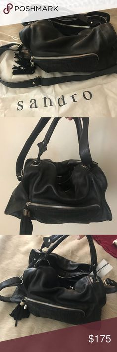 Sandor black suede and leather cross body bag Brand new with tags and bag! Never used. Nice size black purse with several zipped compartments and two pockets. Includes two hand straps and adjustable shoulder strap. Sandro Bags Crossbody Bags