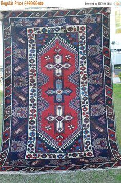 40% OFF SALE Vintage Caucasian Carpet 4 X 6 ft by TEKKARUG on Etsy