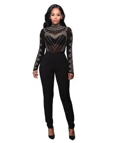 6be129a26d5 2017 Autumn New Fashion Romper Women Sexy Clubwear Turtleneck Black Long  Sleeve Studded Mesh Top Jumpsuit macacao female