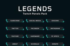 Legends Twitch Panels Pack is a panel pack optimized for Twitch, contains 12 ready-made and exported PNGs in light blue and dark background inspired by the Game Ui Design, App Design, Ui Buttons, Camo Wallpaper, Targeted Advertising, Game Interface, Ui Web, Ui Elements, Dark Backgrounds