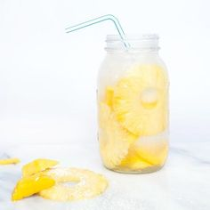 Drink Healthier Beverages -  Coconut + Pineapple + Mango 22 oz. coconut water 1 cup mango chunks 4 pineapple slices