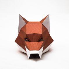 Ideas Origami Fox Head Geometric Animal For 2019 Origami, Cardboard Mask, Paper Art, Paper Crafts, Fox Mask, Fox Head, Mask Template, Animal Masks, Paper Folding
