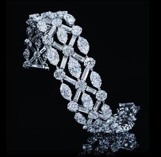 Harry Winston | Important Diamond Bracelet with Round, Baguette and Marquise Diamonds