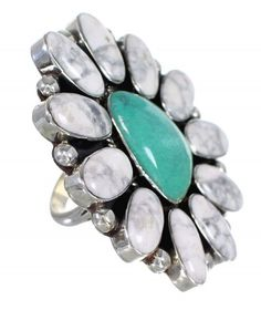 Southwest Howlite And Turquoise Large Statement Silver Ring www.turquoisejewelry.com