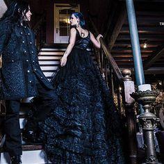Eleanor lange middeleeuwse gothic taffeta bruidsjurk met kant zwart - Gothic Halloween Victoriaans