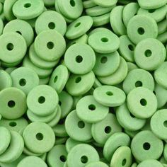 Ceramic Beads-13mm Round Disc-Lime Green-Quantity 25