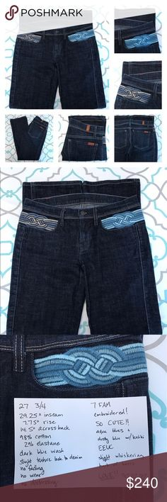 """💙👖Gorgeous 7FAM Jeans👖💙27 3/4 29"""" Embroidered! 💙👖Gorgeous 7 For All Mankind Jeans👖💙 Size 27 (3/4). 29.25"""" Inseam. 7.75"""" Rise. 14.5"""" Across Back. 7 FAM Run Small listed as a 26 (1/2). Good Stretch. Dark Blue Wash. Very Slight Texture. No fading. No wear. No distressing. Embroidered! Cute! Cool! Shades of aqua blue on one hip & dusty blue w kahki color on other. So Unique! Just Adorable! Wish they were my size!!! Excellent Excellent Used Condition! Very Slight Whiskering at back of…"""