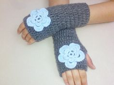 Grey fingerless gloves with blue flower, hand crochet wool and acrilic  ~ BloomedFlower @ etsy