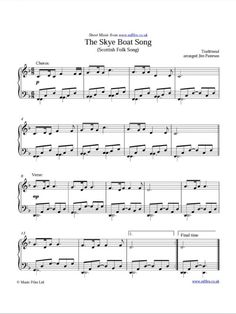 """Here's a free sheet music for """"The Skye Boat Song"""" that's easy enough (for me) to play on the piano (I'm a novice piano player at best). Not Bear McCreary arrangement, obviously, but sounds good enough to me! :-) The download links to the PDF, MIDI, and MP3 files are in the left sidebar. Just thought I'd share."""