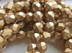 Czech Glass Fire Polish Bead 6mm Gold Metallic by gypsybeadpeddler