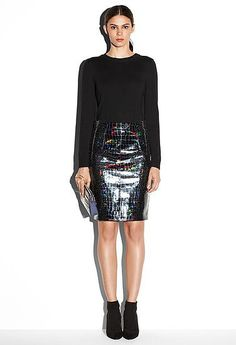 We remember falling in love with Milly's Hologram Leather Edith Pencil Skirt ($625) on the runway — now it's yours to shop.