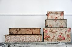 boxes w/vintage French fabrics I want these for my little bits of this and that