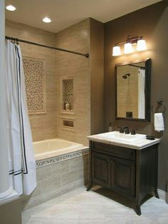 Bathroom remodel - Kirsty Froelich: The Tile Shop - Kirsty Froelich - Ceramic Bathroom - natural stone mosaic accents Bathroom Tub Shower, Bathroom Renos, Small Bathroom, Master Bathroom, Bathroom Ideas, Small Tub, Bathroom Designs, Bathroom Organization, Lowes Tile Bathroom