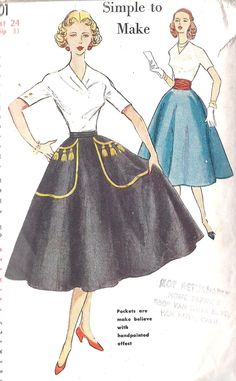 "1950s Rockabilly Circle Skirt Sewing Pattern with Pockets, Cummerbund and Color Transfer Simplicity 4301 Waist 24"". $12.00, via Etsy."