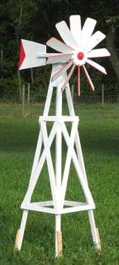 White Farm Windmill for Yard Decorations