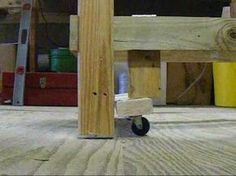 Retractable Landing Gear for your Table - simple kick plate for workshop wheels