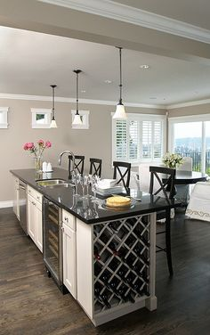 Luxury Liberty-style kitchen with built-in wine cooler & rack     Live Your Dreams!