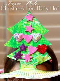 Paper Plate Christmas Tree Hat, will work for all ages