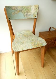 Decoupage Chair  DIY -- Revamp a plain chair by adding maps to the seat and back with some help from Mod Podge.