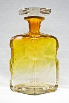 Moser Intaglio Cut Glass Yellow Perfume Bottle : Lot 202