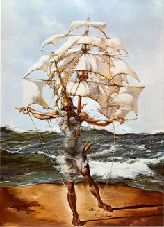 Salvador Dali The Ship painting for sale - Salvador Dali The Ship is handmade art reproduction; You can buy Salvador Dali The Ship painting on canvas or frame. Salvador Dali Gemälde, Salvador Dali Paintings, Magritte, Ship Paintings, Watercolor Paintings, Ship Art, Surreal Art, Oeuvre D'art, Les Oeuvres